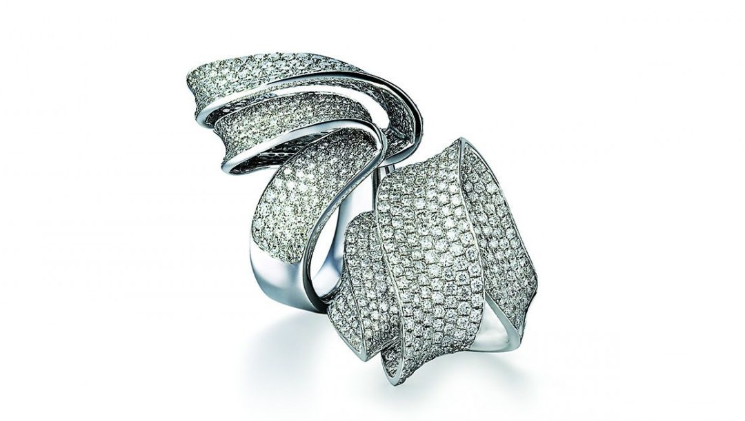 Arthur Kaplan – Moonlight Pavé Swirl Ribbon Ring