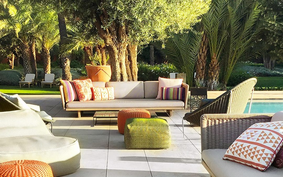Paola Lenti collections in Le Jardin of the Royal Mansour hotel in Marrakech